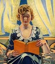 Kvinna i skinglat hår sitter och läser ur orange bok_illustration