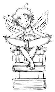 läsande älva på boktrave_illustration