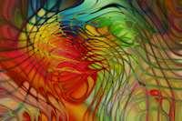 En färgsprakande blandning av rött, blått, gult och orange som tillsammans genom ett rutnät bildar känslan av rörelse.