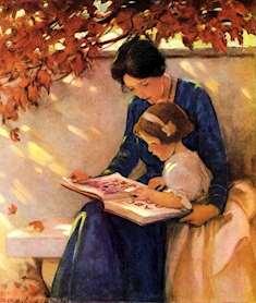 Mamma läser högt för sin flicka på en vit trädgårdsbänk_höst_illustration