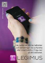 Två händer håller i en telefon samt texten: Sök, ladda ner och läs talböcker och taltidningar via surfplatta eller smarttelefon. Fråga mer på ditt bibliotek. Legimus.