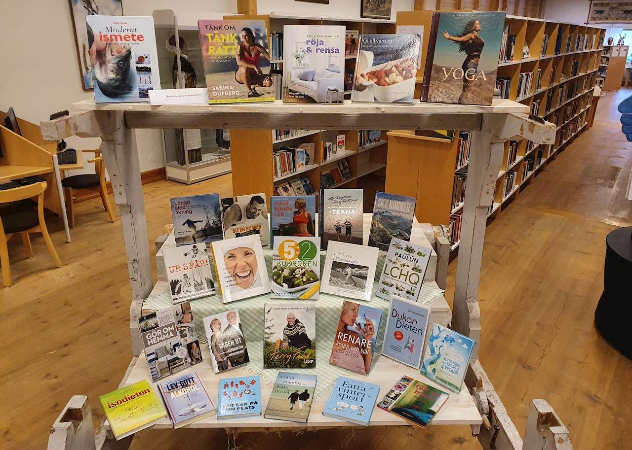 Vävstolen på Sorsele bibliotek med tema hälsa