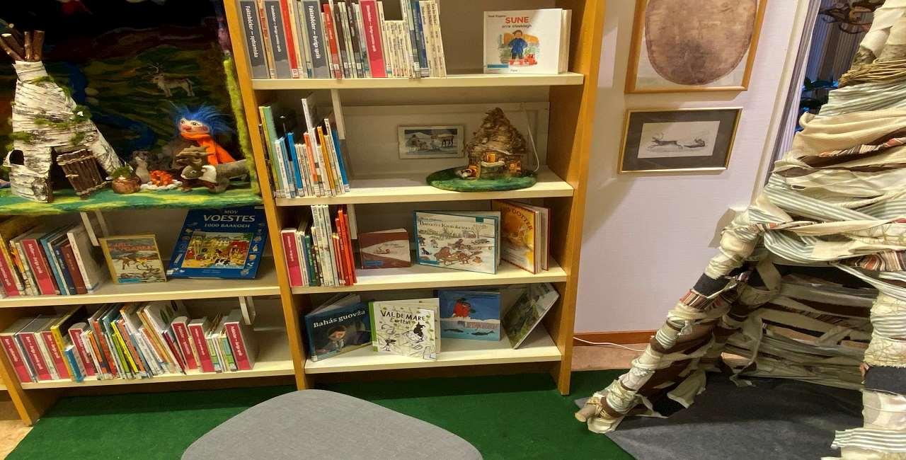 Plupplandskapp i hyllan bland böckerna i den samiska barnhyllan. Till höger står ett plupphus som barnen kan krypa in i. På golvet ligger en grön matta för att efterlikna gräs.
