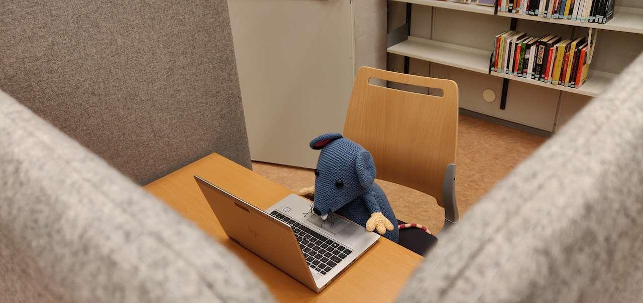 Råttan utför enskilda studier i ett av båsen i Referensrummet